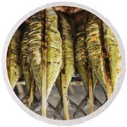 Fresh Grilled Asian Fish In Kep Market Cambodia Round Beach Towel