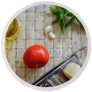 Fresh Italian Cooking Ingredients On Tile Round Beach Towel