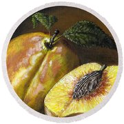 Fresh Peaches Round Beach Towel by Adam Zebediah Joseph
