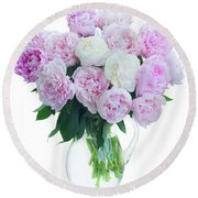 Vase Of Peonies Round Beach Towel