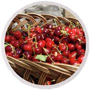 Fresh Picked Cherries In A Wicker Basket In Dolnje Cerovo In The Round Beach Towel