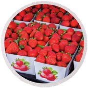 Fresh Picked Strawberries Round Beach Towel
