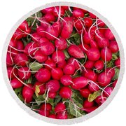 Fresh Red Radishes Round Beach Towel