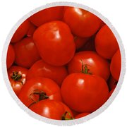 Fresh Red Tomatoes Round Beach Towel