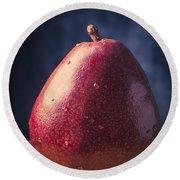 Fresh Ripe Red Pear Round Beach Towel