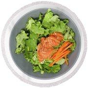 Fresh Seafood Salad With Smoked Salmon Round Beach Towel