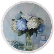 Fresh Summer Hydrangea 2 Round Beach Towel