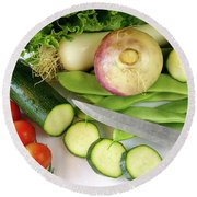 Fresh Vegetables Round Beach Towel