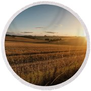 Freshly Harvested Fields Of Barley In Countryside Landscape Bath Round Beach Towel