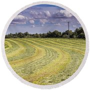 Freshly Mown Hay  Round Beach Towel