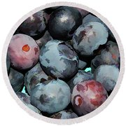 Freshly Picked Blueberries Round Beach Towel