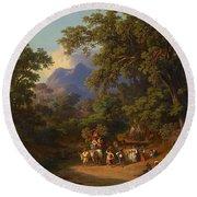 Frey  Johann Jakob 1813 Basel   1865 Frascati  Wedding Procession Of Italian Farmers Round Beach Towel