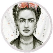 Frida Kahlo Portrait Round Beach Towel