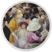 Friday At The French Artists Salon Round Beach Towel by Jules Alexandre Grun