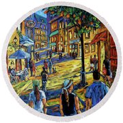 Friday Night Walk Prankearts Fine Arts Round Beach Towel