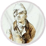 Friedrich Caspar David Self Portrait With Cap And Sighting Eye Shield Round Beach Towel