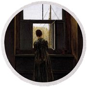 Friedrich Caspar David Woman At A Window Round Beach Towel