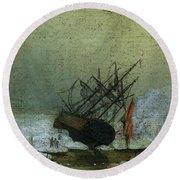 Friedrich Caspar David Wreck By The Sea Round Beach Towel