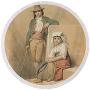 Friedrich Gonne  Two Italian Youths Round Beach Towel