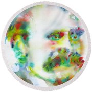 Friedrich Nietzsche - Watercolor Portrait.10 Round Beach Towel