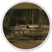 Friedrich Voltz 1817 Nordlingen   Munich 1886 Forest Clearing At A Pond Round Beach Towel