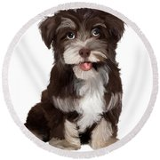 Friendly Dog Round Beach Towel