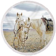 Friends And Companions  Round Beach Towel