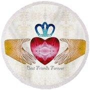 Friendship Art - Best Friends Forever - Sharon Cummings Round Beach Towel by Sharon Cummings