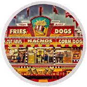 Fries Nachos Dogs Round Beach Towel