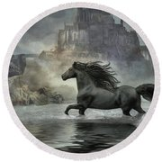 Friesian Fantasy Revisited Round Beach Towel