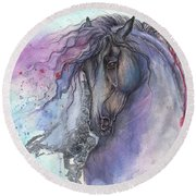 Friesian Horse 2015 12 24 Round Beach Towel