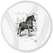 Friesian Horse Round Beach Towel