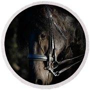 Friesian Horse Portrait Dark Round Beach Towel