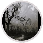 Frigid Moonlit Night Round Beach Towel