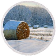 Frigid Morning Bales Round Beach Towel