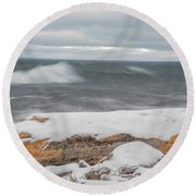 Frigid Waves Round Beach Towel