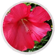 Frilly Red Hibiscus Round Beach Towel