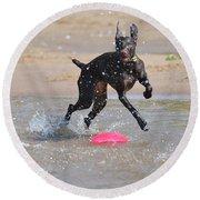 Frisbee On The Beach Round Beach Towel