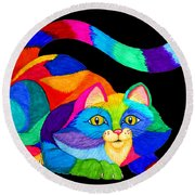 Frisky Cat Round Beach Towel