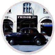 Frisor And Black Car  Copenhagen Denmark Round Beach Towel
