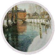 Frits Thaulow    A Chateau In Normandy Round Beach Towel