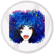 Fro Blues Round Beach Towel
