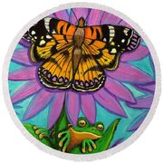 Frog And Butterfly Round Beach Towel