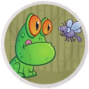 Frog And Dragonfly Round Beach Towel by John Schwegel