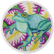 Frog And Flower Round Beach Towel