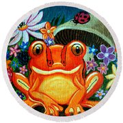 Frog And Flowers Round Beach Towel