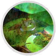 Frog And Lily Pad 3076 Idp_2 Round Beach Towel