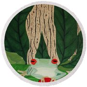 Frog And Silhouette Round Beach Towel