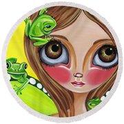Frog Fairy Round Beach Towel