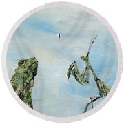 Frog Fly And Mantis Round Beach Towel by Fabrizio Cassetta